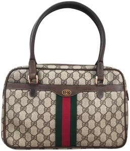 Gucci Accessory Collection Made In Italy Monogram Leather Supreme Satchel in Brown