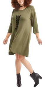 Poof! Apparel short dress Olive Green w/Black Lace on Tradesy