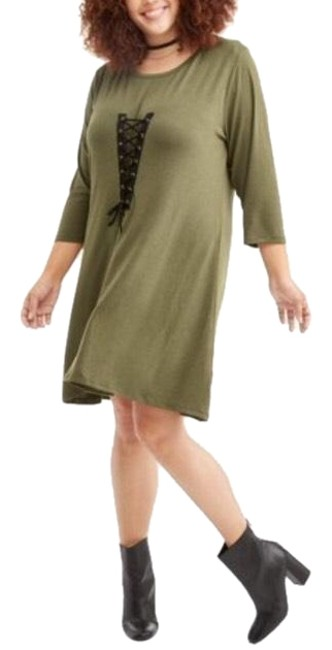 Preload https://img-static.tradesy.com/item/24020518/poof-apparel-olive-green-wblack-lace-caged-corset-look-mini-short-casual-dress-size-22-plus-2x-0-1-650-650.jpg