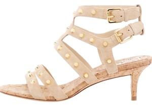 Michael Kors Collection Tan Cork and Gold Studded Sandals