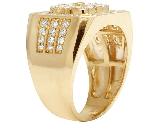 Jewelry Unlimited 10K Yellow Gold Real Diamond Pinky Men's Ring 1.5 CT 18MM Image 1