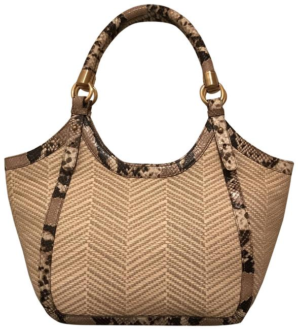 Item - Woven Rattan Snakeskin Beige White Gray Multi Canvas Leather Tote