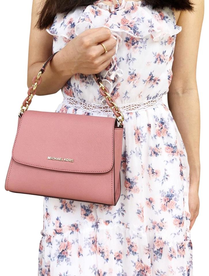 87b7349201a1 Michael Kors East West Small Sofia Portia Satchel Rose Pink Leather ...