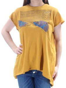 Free People Gold Sea Jewel Neck Sleeve T Shirt Yellow
