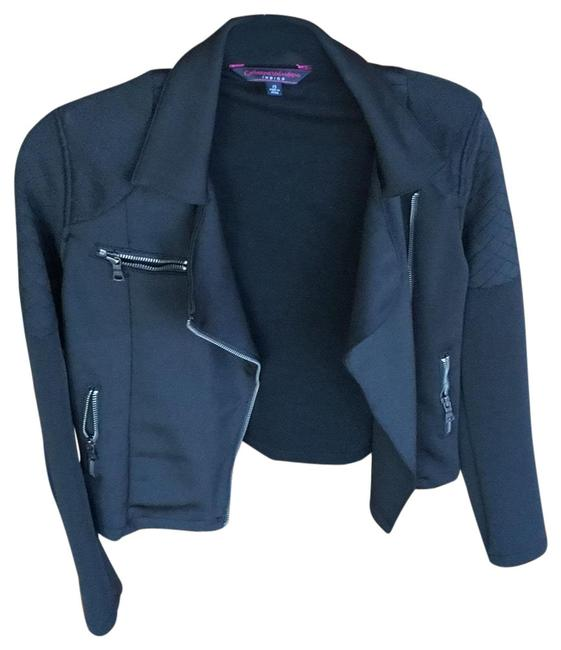 Item - Black With Knitted Pattern Jacket Size 2 (XS)