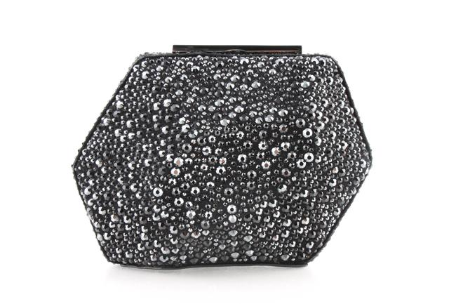 Item - Crystal Embellished Suede Minaudiere Black Leather Clutch