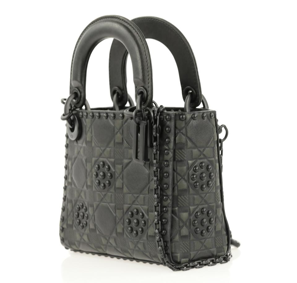 1dde4012c839 Dior Lady Dior Studded Embossed Ultra Mini Black Leather Cross Body ...