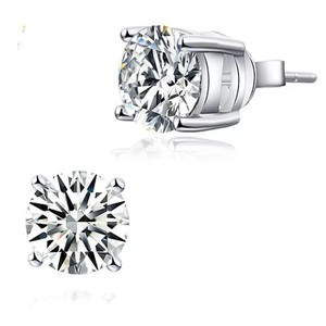 Other Classic 2 Carat VVS1 round cut lab created diamond Solid 925 Sterling Silver Stud Earrings