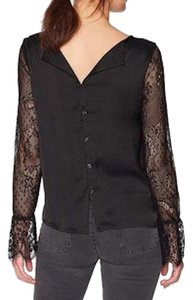 Michael Stars Lace Silky Long Sleeves Vince Top Black