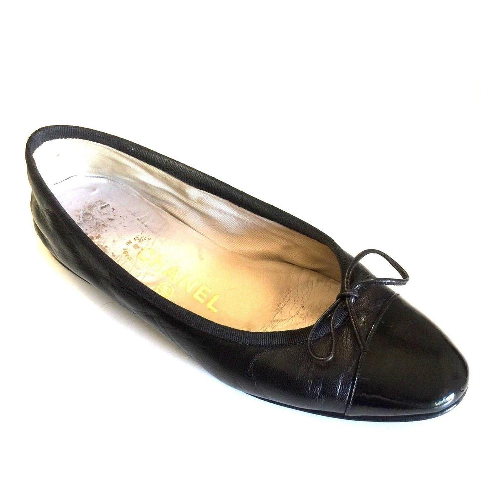 bbb2db48213 Chanel Black Ballet Cap Toe Leather Patent Bow Slip On 37 7 Classic Flats