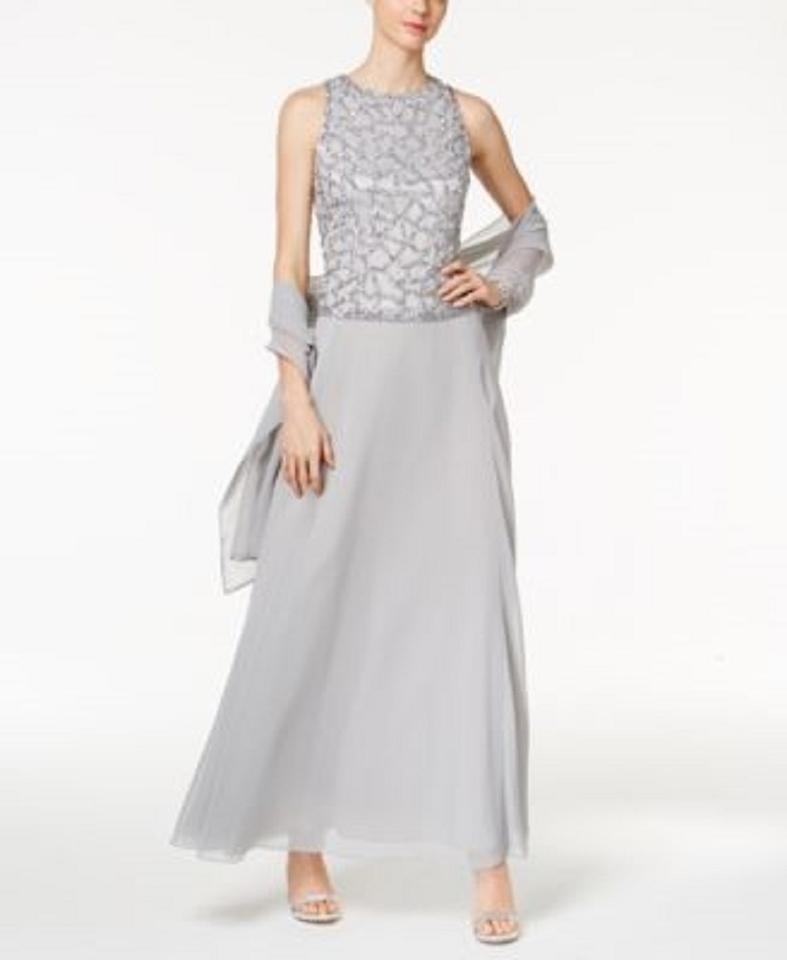 JKara Silver Sequined Mock Gown Long