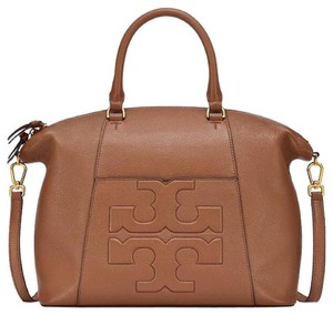 Tory Burch Logo Leather Slouchy Tote in Brown tan bark