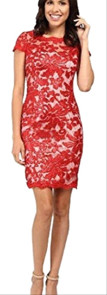 677b09dbf14 Calvin Klein Red Sequin Short Cocktail Dress Size 14 (L) - Tradesy
