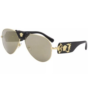 1a07e28a0eaf Versace Versace VE2150Q VE 2150 Q 1002 5A Gold Black Leather Fashion