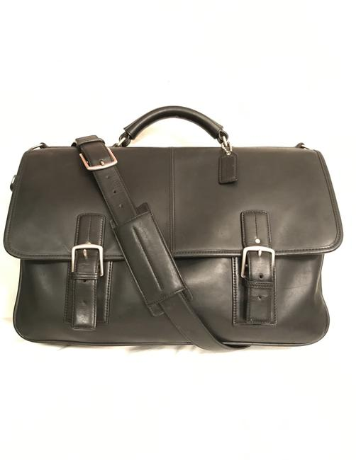 Item - Portfolio Thompson Briefcase Attache F06455 Black Silver Leather Laptop Bag