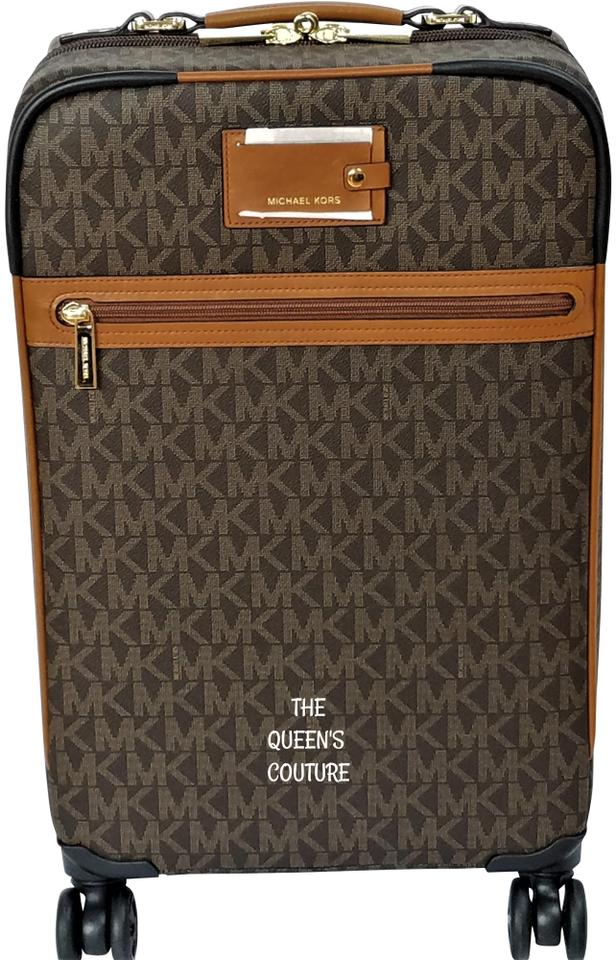 Michael Kors New 3 Pc Jet Set Trolley Abbey Lrg Wallet Brown Pvc