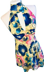 Bisou Bisou short dress Yellow with Floral Pattern of Blue and Pink on Tradesy