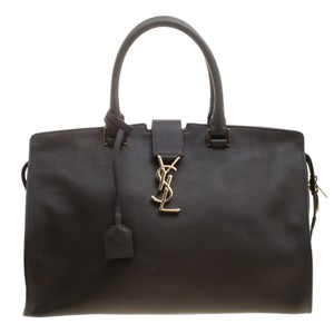 Saint Laurent Leather Suede Tote in Brown