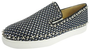 Christian Louboutin Slip On Party Red Bottom Studded Blue Athletic