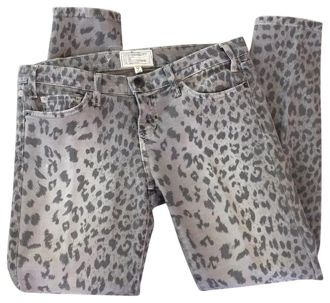 Item - Gray and Tan Leopard Skinny Jeans Size 6 (S, 28)