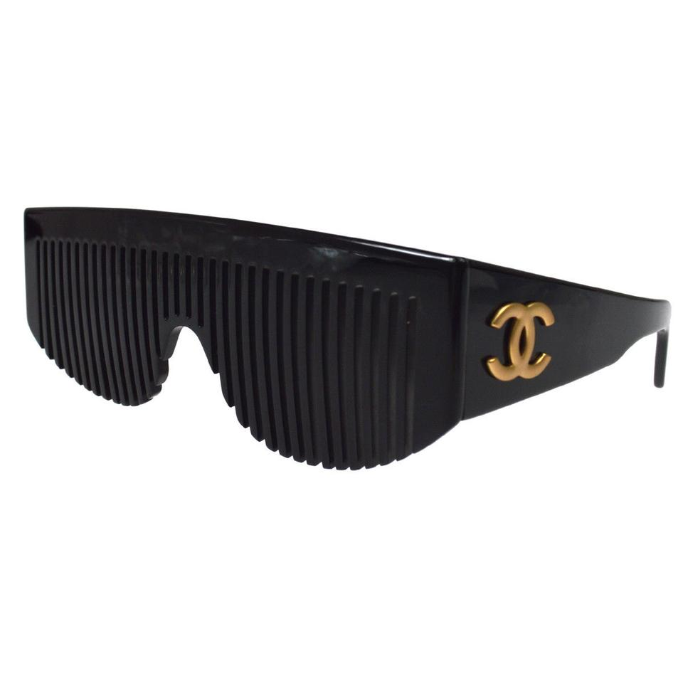 44134deb84cb9 Chanel Black Rare Vintage Comb Collectors Item Sunglasses - Tradesy