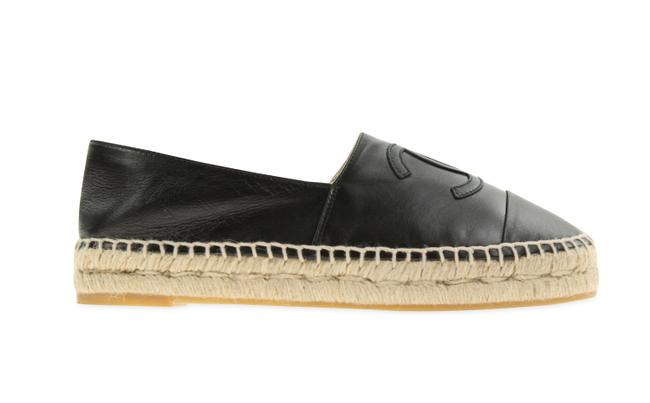 Item - Black Leather Espadrille Flats Size EU 37 (Approx. US 7) Regular (M, B)
