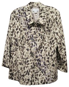 Sag Harbor Leopard Print Button-down Closure 3/4-sleeves Fitted Silhouette Fully Lined Multi-Color Blazer