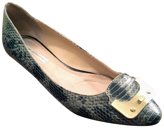 Item - Gray Green Moss Reptile and Gold Flats Size US 9 Regular (M, B)