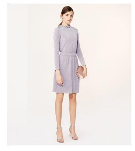 Tory Burch Metallic Long Sleeve Fit And Flare Dress