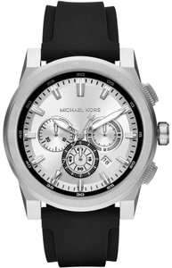 Michael Kors Michael Kors Men's Grayson Stainless-Steel Black Silicone Watch MK8596