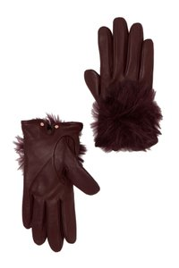 Ted Baker Ted Baker London Faux Fur Pom Pom Leather Glove Maroon