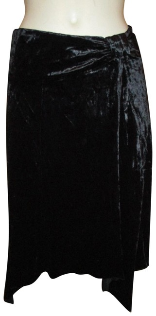 Item - Black Crushed Velvet Asymmetric Hem Skirt Size 2 (XS, 26)