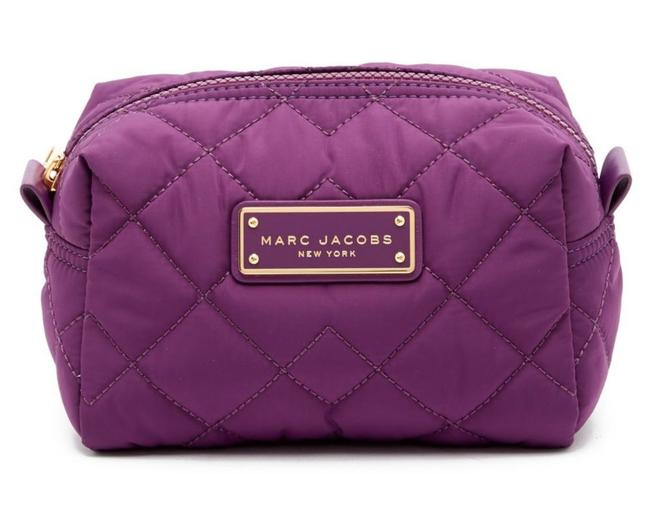 Item - Purple and Gold Large Quilted Nylon Cosmetic Bag
