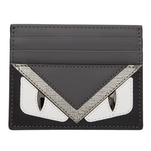 Fendi BNWT grey tri-color Fendi Monster buggy eyes card holder case