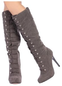 Anne Michelle Suede Winter Heel Grey Boots