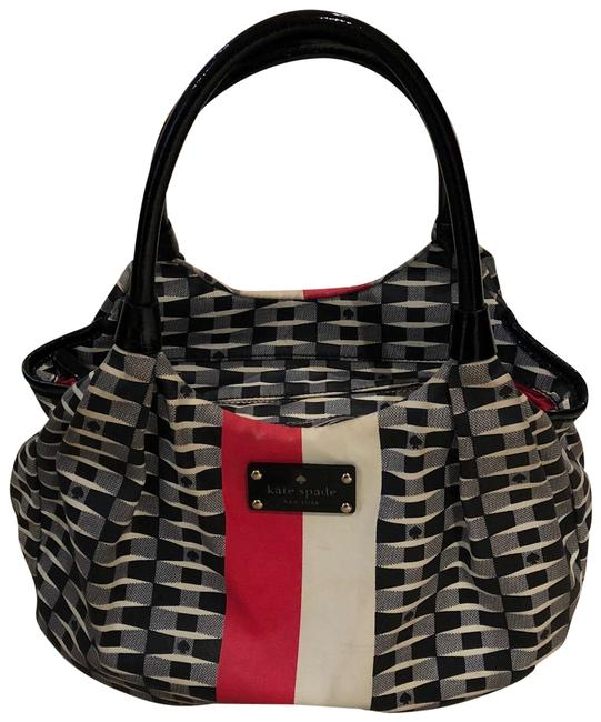 "Item - ""Karen"" Black White and Red Pattern Nylon with Patent Leather Handles Shoulder Bag"