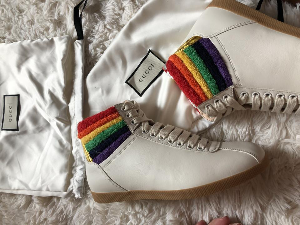 2272594fde3b76 Gucci White New 2018 Spring Summer Rainbow High-top Sneaker Sneakers Size  EU 39 (Approx. US 9) Regular (M