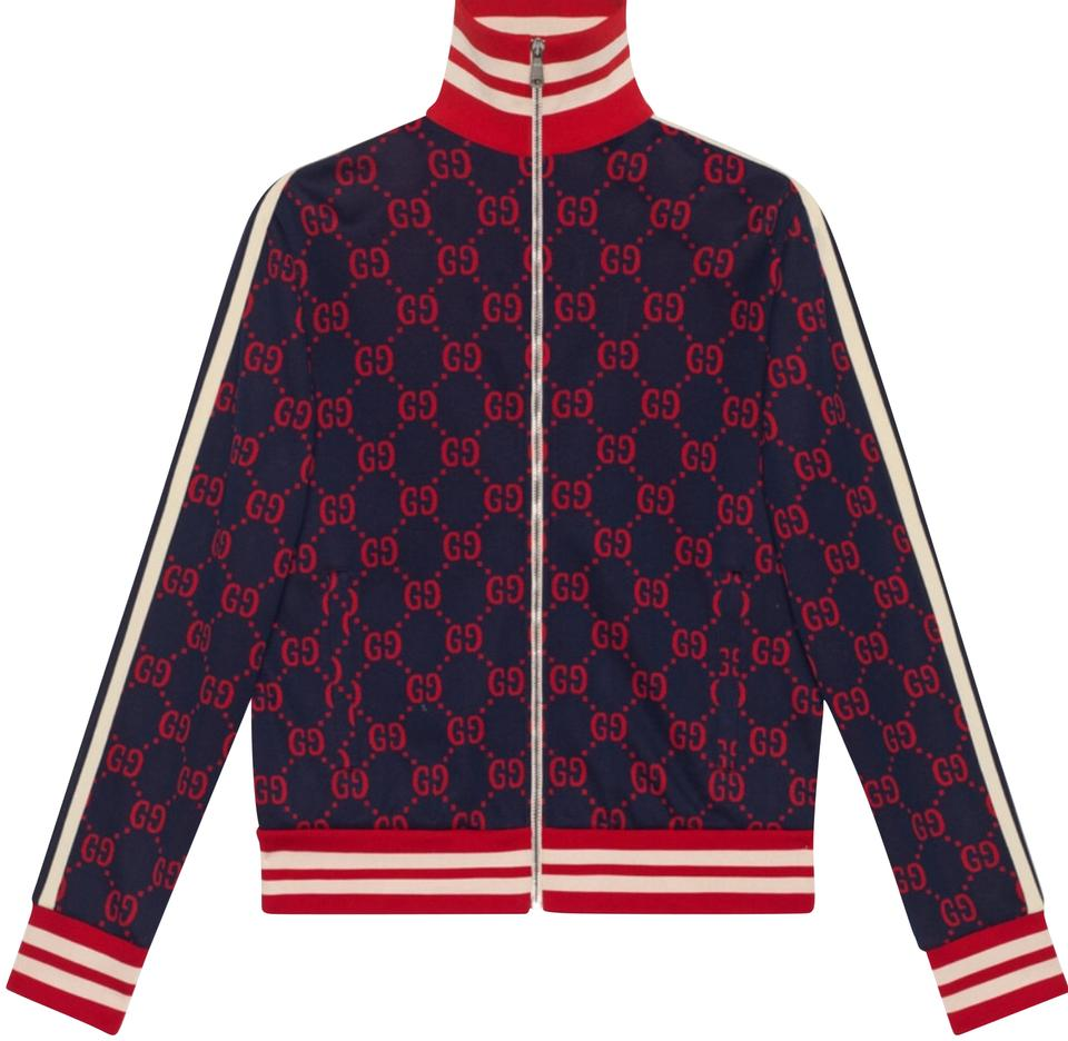 91a1ead7a Gucci Navy Blue Red Gg Jacquard Cotten Jacket Sweatshirt/Hoodie Size ...