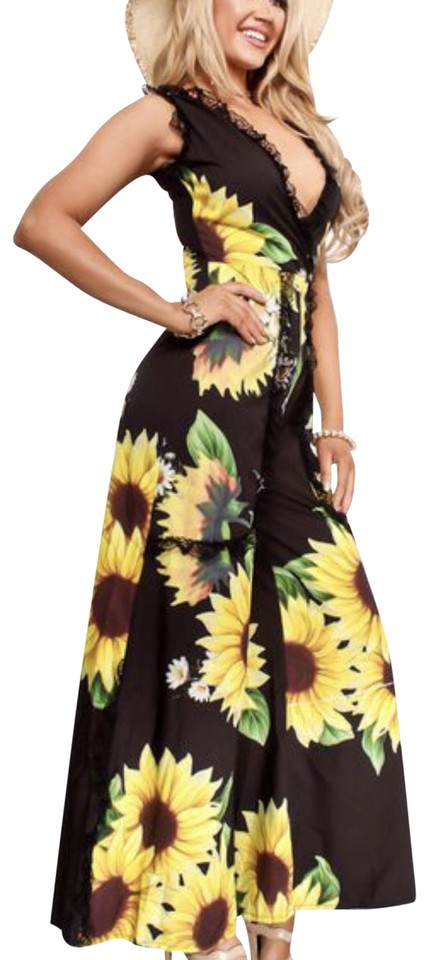 3114746c732 Black and Yellow Flower No Romper Jumpsuit - Tradesy