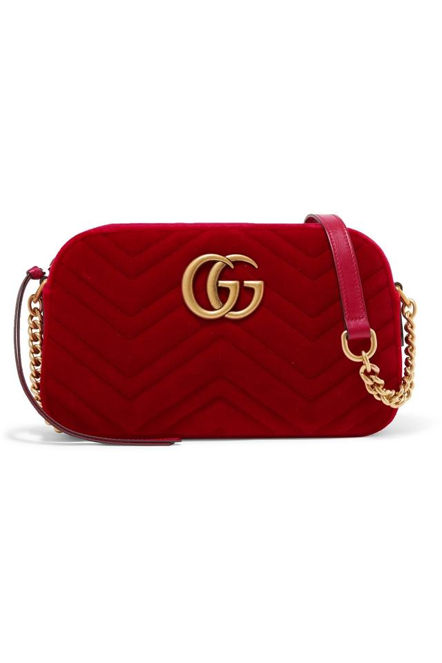 368b46837 Gucci Velvet Cobalt Blue Gg Marmont Shoulder Bag Image 0 ...