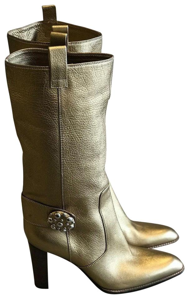 WOMEN Gold Sergio Rossi Gold WOMEN Leather Boots/Booties Strong value 9c7ff5