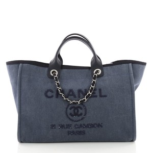 Chanel Deauville Sequin Tote in Blue Denim