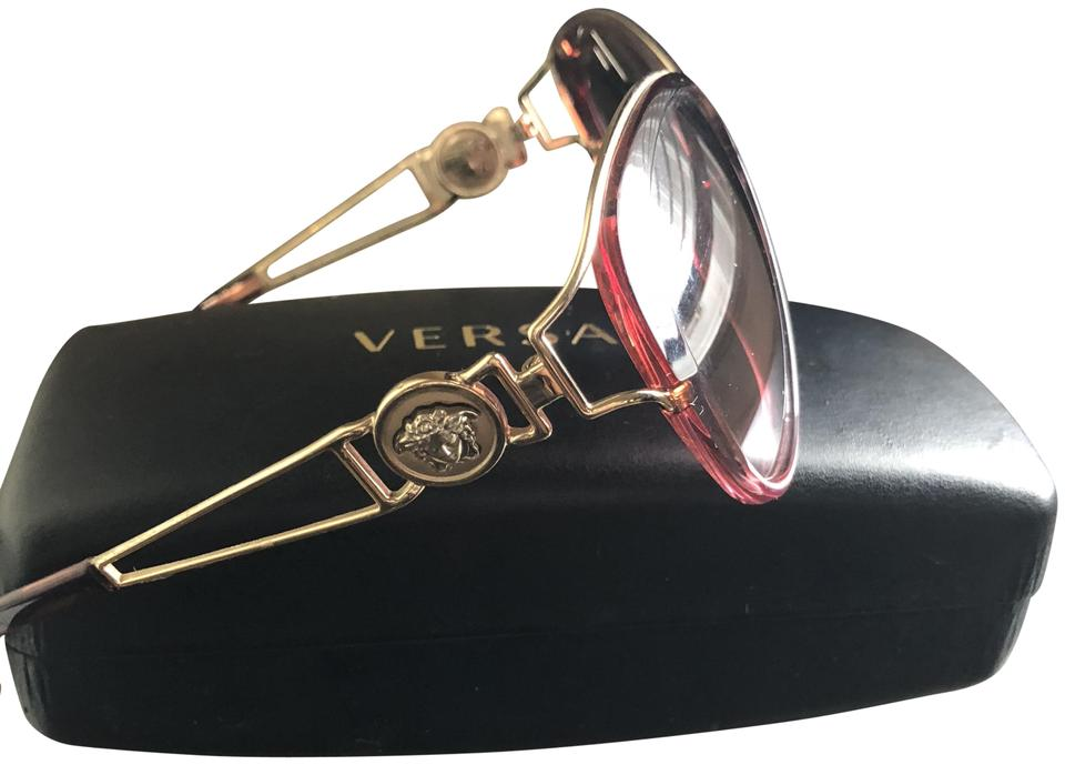 Versace Pink And Black Round Cat Eye Glasses Sunglasses Tradesy