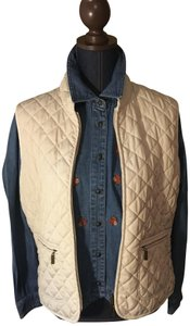 Van Heusen Embroidered Button Down Shirt Denim shirt/tan vest.