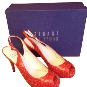 Stuart Weitzman Leather Sole Crystal Snake Sling Backs Red snake Pumps