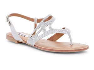 Not Rated Lightly Padded Rhinestones Heel Buckle Strap Cut Out Detailing Thong Toe Silver Sandals
