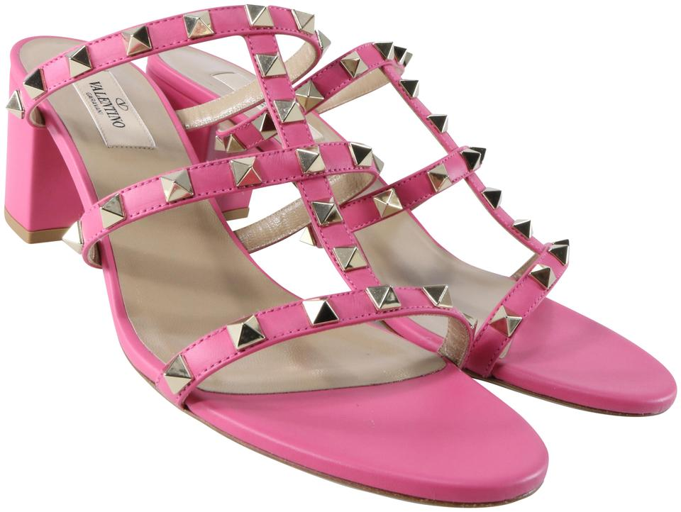 71e05a4389e3 Valentino Pink Shadow Low Heel Cage Rockstud Classic Mules B058 Sandals.  Size  EU 40 (Approx. US 10) Regular (M ...