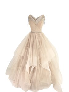 Hayley Paige Beige Tulle Chandon Stardust Ballgown Sexy Wedding Dress Size 2 (XS)