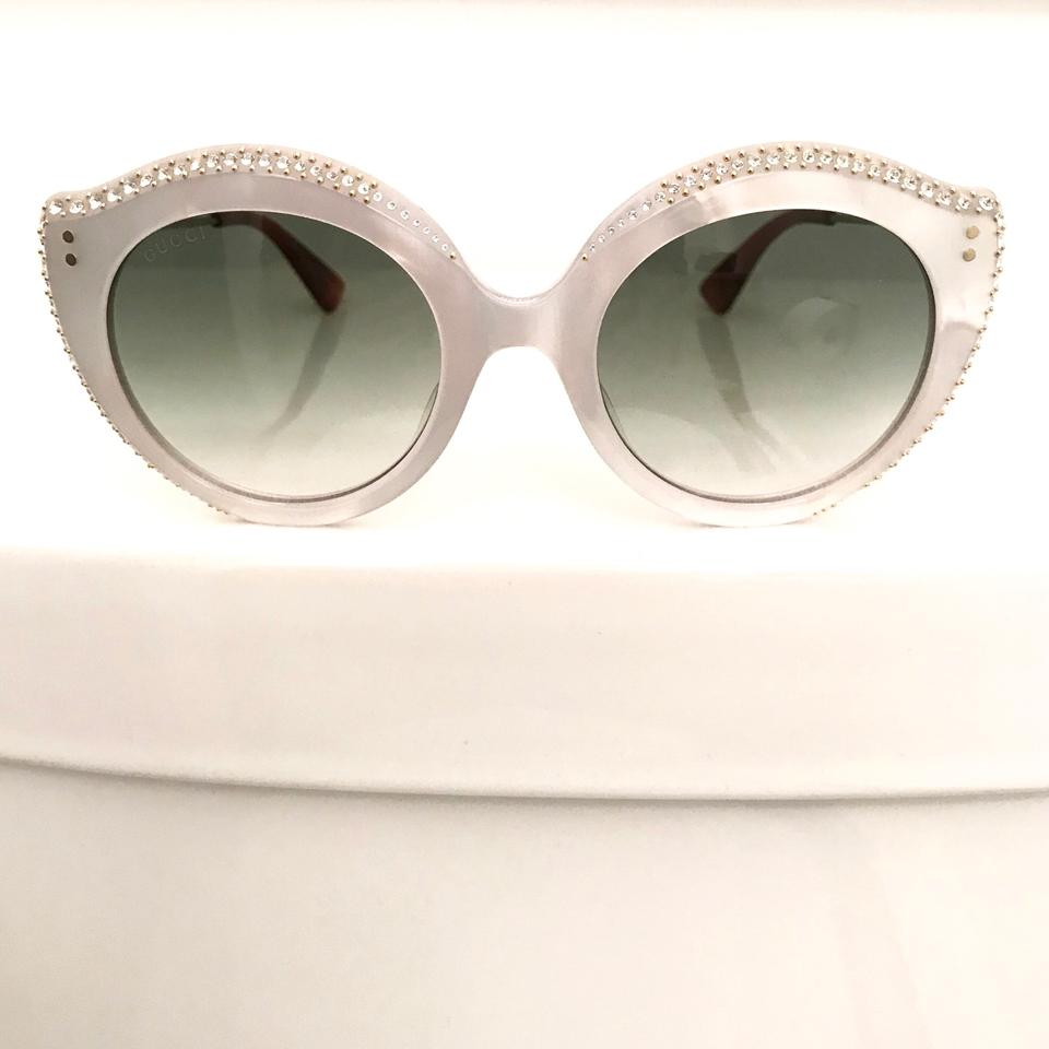 7fffc067b037 Gucci White Havana Gold Crystal Pave Cat Eye Sunglasses - Tradesy