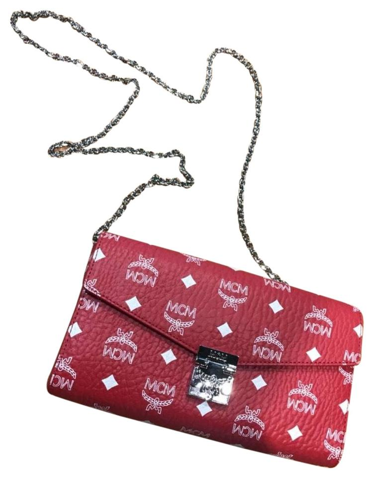 Mcm Wallet On Chain Red Cross Body Bag